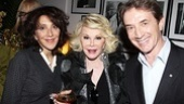 Andrea Martin, Joan Rivers and Martin Short lift their glasses to Tracie Bennett.