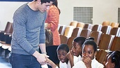 On a field trip to mentor Brooklyn middle school performers, Nick Jonas introduces himselfand the kids are speechless!