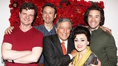 End of the Rainbow stars Michael Cumpsty, Jay Russell, Tracie Bennett and Tom Pelphrey surround celebrity guest Tony Bennett.