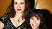 Broadway neighbors Jennifer Tilly (Dont Dress For Dinner) and Daphne Rubin-Vega (A Streetcar Named Desire) celebrate after the show.
