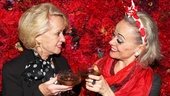 We'll take a glass together! Tippi Hedren toasts Tracie Bennett at the Belasco Theatre.