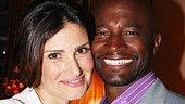 Adoring wife Idina Menzel goes cheek to cheek with her husband Taye Diggs at the gathering.