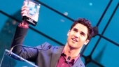 Host Darren Criss proudly holds up his award for Favorite Replacement—he's come a long way from washing Andrew Keenan-Bolger's dance belt at the University of Michigan!