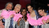 You can never say life at Priscilla Queen of the Desert isn't fun! Here Gloria Gaynor works a boa with the show's male stars Adam Lefevre, Tony Sheldon, Will Swenson and Nick Adams.