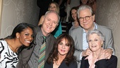 Broadway heavy hitters Audra McDonald (Porgy and Bess), John Lithgow (The Columnist), Stockard Channing (Other Desert Cities), John Larroquette (The Best Man) and Angela Lansbury (The Best Man) get ready to enter the luncheon. Peeking through: Kelli O'Hara (Nice Work If You Can Get It) and Linda Lavin (The Lyons).