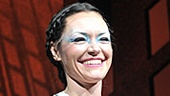 Katrina Lenk looks sticky and sweet at her very first Broadway curtain call as Spider goddess Arachne in Spider-Man, Turn off the Dark.