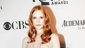 Broadway-bound movie star Jessica Chastain goes nude (sort of!) with this edgy Mario Schwab cocktail dress, Harry Winston jewels and Giuseppe Zanotti heels.