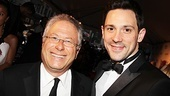 Tony-winning Newsies composer Alan Menken and Best Actor Steve Kazee (Once) pose for a photo.