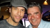 Comedian (and theater newbie!) Dane Cook hangs out with Tony winner Gary Beach after their star turns as Franz Liebkind and Roger De Bris.