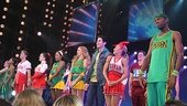 Bring It On  castmates Ryann Redmond, Ariana DeBose, Neil Haskell, Janet Krupin, Adrienne Warren, Taylor Louderman, Jason Gotay and Elle McLemore, take in the thunderous applause onstage at the St. James Theatre.