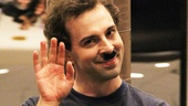 Rob McClure waves to the audience during rehearsal.