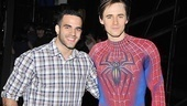 Olympian Danell Leyva meets Spider-Man star Reeve Carney backstage at the hit musical.
