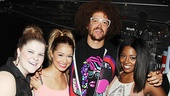 Redfoo poses with leading cheerleaders Ryann Redmond, Elle McLemore and Adrienne Warren. Theyre sexy and they know it!