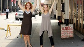 Carolee Carmello and Kathie Lee Gifford give one last push to the marquee as it goes up. See the fruit of their labor at the Neil Simon Theatre!