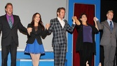 NEWSical the Musical stars Michael West, Leslie Kritzer, Perez Hilton, Christine Pedi and Tommy Walker join hands for a company bow.