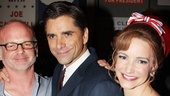 We did it! Director Michael Wilson congratulates John Stamos and Kristin Davis, who play presidential hopeful Joseph Cantwell and his wife, Mabel.