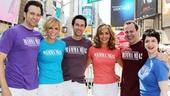 Mamma Mia!'s leading sextet Graham Rowat, Felicia Finley, Aaron Lazar, Judy McLane, Daniel Cooney and Lauren Cohn are all smiles.