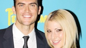 Cheyenne Jackson, who plays adult film star Mandrew, cozies up to Ari Graynor, cast as his wife, Peeps.