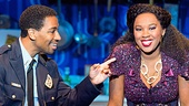 E. Clayton Cornelious as Eddie Souther and Ta'Rea Campbell as Deloris in the national tour of Sister Act.