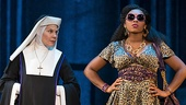 Hollis Resnik as Mother Superior and Ta'Rea Campbell as Deloris in the national tour of Sister Act.