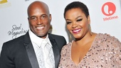 Director Kenny Leon escorts Jill Scott (who plays salon owner Truvy) down the red carpet.