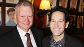 The first portrait to Grace the Sardi's wall? Paul Rudd! Sardi's exec Max Klimavicius and Rudd show off the new work of art.
