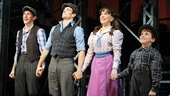 Newsies stars Ben Fankhauser, Corey Cott, Kara Lindsay and Nicholas Lampiasi enjoy a final bow before heading backstage to congratulate Ron Raines.