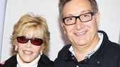 It's a 33 Variations reunion! Jane Fonda hangs out with writer and director Moises Kaufman, who is currently directing The Heiress.