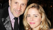 Kerry Butler and her husband Joey Mazzarino brave the chilly fall weather to see the Booth Theatre heat up on opening night.