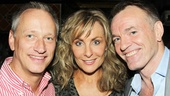Longtime Mamma Mia! general manager Devin Keudell and original cast member Brent Black flank leading lady Judy McLane.
