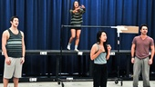 In rehearsal, Bare players Sara Kapner, Casey Garvin, Elizabeth Judd, Alice Lee and Michael Tacconi give heartfelt performances.