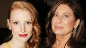 Jessica Chastain and The Heiress producer Paula Wagner kick back at the Edison Ballroom.