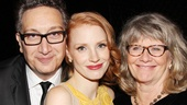 Moises Kaufman, who is directing his fourth Broadway show, and Judith Ivey (r.), who is starring in her tenth, welcome Jessica Chastain to the Broadway club.
