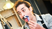 Peter and the Starcatcher star Matthew Saldivar jokingly participates in the backstage festivities of Movember.