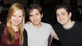 Molly Ranson, Michael Zegen and Philip Ettinger take a break from Roundabout's off-Broadway show Bad Jews to party with the cast of Drood.