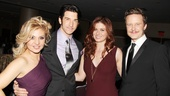 The always glamorous Orfeh and Andy Karl hang out with Debra Messing and Will Chase after the show.