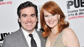 Leading duo Brian d'Arcy James and Kate Baldwin get in close for a photo.
