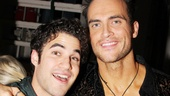 Darren Criss rushed over to the Longacre Theatre to enjoy raunchy jokes and sexy porn costumes during The Performers final performance. Here he is backstage with former Glee guest star Cheyenne Jackson. Lookin good guys!