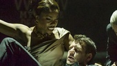 Heather Headley (second from left) as Rachen Marron and Lloyd Owen as Frank Farmer with ensemble in The Bodyguard.
