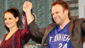 Happy opening! Katie Holmes and Norbert Leo Butz take their opening night bows in Dead Accounts.