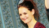 Shes a Broadway baby! Katie Holmes receives a deservedly beautiful bouquet during curtain call.