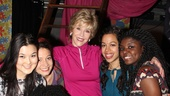 Jane Fonda takes a moment with the cast of Emotional Creature, including (from left) Olivia Oguma, Molly Carden, Sade Namei, Joaquina Kalukango, Emily S. Grosland and Ashley Bryant.