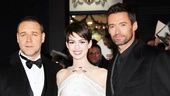 There they are, folks! Les Miserables stars Russell Crowe (Javert), Anne Hathaway (Fantine) and Hugh Jackman (Jean Valjean) arrive for the movie's London premiere.