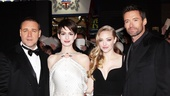 Amanda Seyfried (Cosette) joins Crowe, Hathaway and Jackman for a photo. 