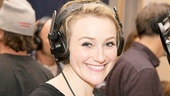 Betsy Wolfe (who plays not-so-innocent Rosa Bud) preps for a long afternoon in the recording studio.