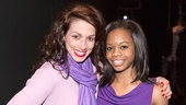 Donna Marie Asbury (June) takes a moment with Gabby Douglas backstage.