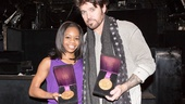Gabby Douglas shows off her Olympic gold medals (and best smile!) with Billy Ray Cyrus backstage at the Ambassador Theatre. 