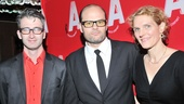 What Rhymes with America star Chris Bauer is flanked by the show's director, Daniel Aukin, and playwright, Melissa James Gibson.