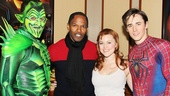 Rebecca Faulkenberry (Mary Jane) joins Robert Cuccioli, Jamie Foxx and Reeve Carney for a backstage snapshot.
