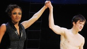 Bravo! Patina Miller (Leading Player) and Matthew James Thomas (Pippin) take a magical opening night bow.
